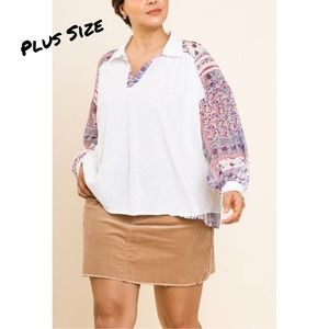 Umgee Plus Size Top Sheer Floral Puff Sleeves